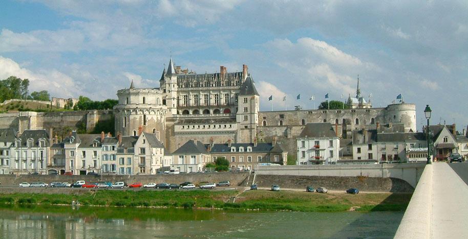 Vue lointaine sur le château d'Amboise
